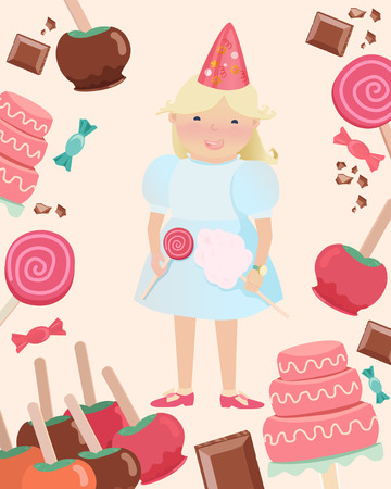 Cartooned Graphic Design of Happy Young Girl with Party Hat and Holding Candies Surrounded with Sweets on a Very Light Brown Background.