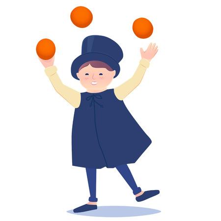 Cartooned Graphic Design of a Happy Juggler Boy