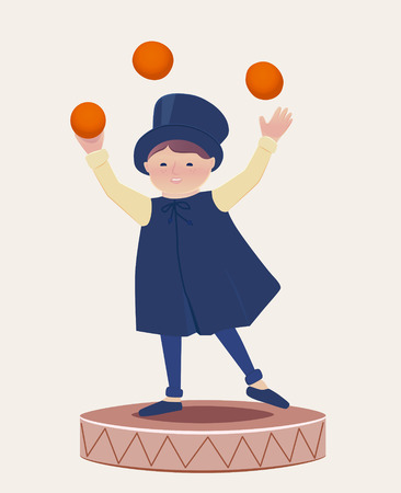 dexterity: Cartooned Graphic Design of a Happy Juggler Boy Performing on Top of a Round Platform