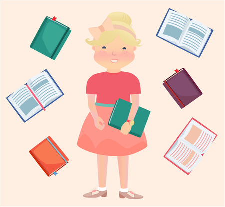 cartooned: Cartooned Graphic Design of Happy Young School Girl Surrounded by Reading Books on a Light Brown Background.
