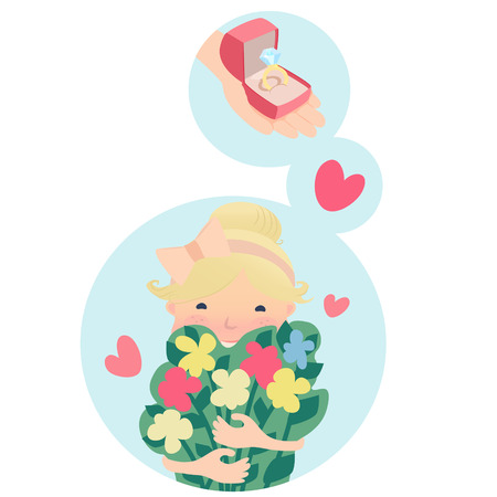 yearning: Pretty young blond girl clutching a bunch of fresh spring flowers dreaming of love and an engagement ring with a big diamond, vector cartoon illustration