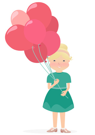 Cartooned Graphic Design of Smiling Young Girl in Green Dress Holding Red and Pink Balloons on a Very Light Brown Background.