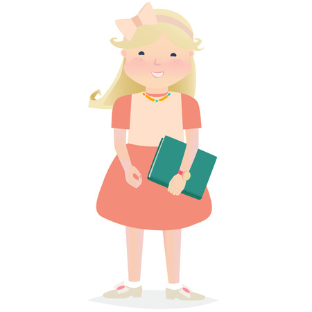cartooned: Cartooned Happy Young Girl Holding a Book