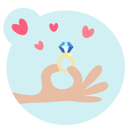 Cartooned Graphic Design for Love Concept with One Hand Holding a Diamond Ring with Hearts Above on Sky Blue Background.