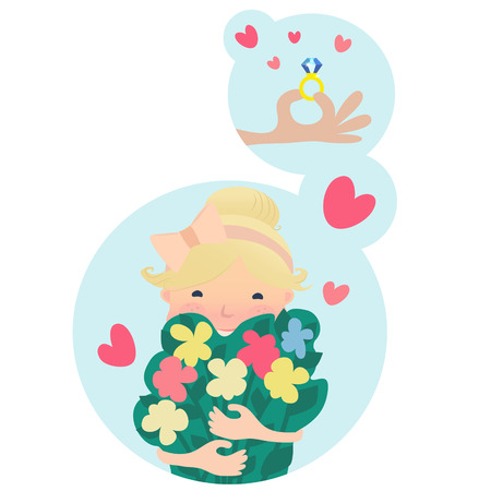 Pretty young blond girl clutching a bunch of fresh spring flowers dreaming of love and an engagement ring with a big diamond, vector cartoon illustration