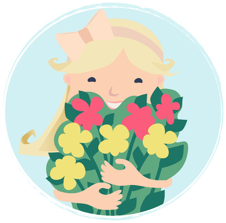 rejuvenation: Cartooned Graphic Design of Pretty Smiling Girl with Bouquet of Spring Flowers on Sky Blue Background.