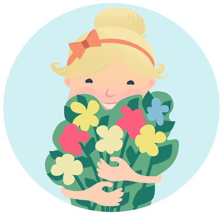 Cartooned Graphic Design of Pretty Smiling Girl with Bouquet of Spring Flowers on Sky Blue Background.