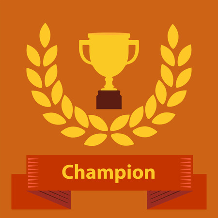 triumphant: Gold metal trophy cup or award for the winner of a championship, challenge or competition with a lauren wreath and ribbon banner with text - Champion