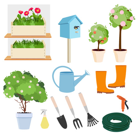 Spring gardening set of colored icons showing flowering plants and trees, watering can, boots, tools, hose, bird nesting box and sprayers, vector design elements 일러스트