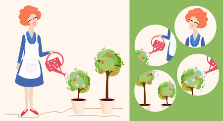 woman gardening: Spring gardening illustration depicting a pretty smiling woman watering her blossoming potted trees with a red polka dot watering can and icons showing various close ups Illustration