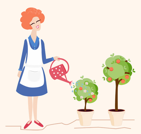 her: Spring gardening illustration depicting a pretty smiling woman watering her blossoming potted trees with a red polka dot watering can