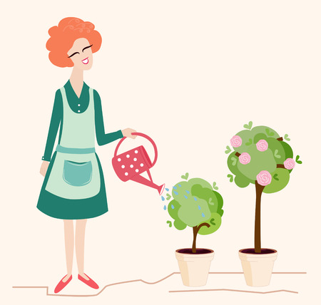 woman gardening: Spring gardening illustration depicting a pretty smiling woman watering her blossoming potted trees with a red polka dot watering can