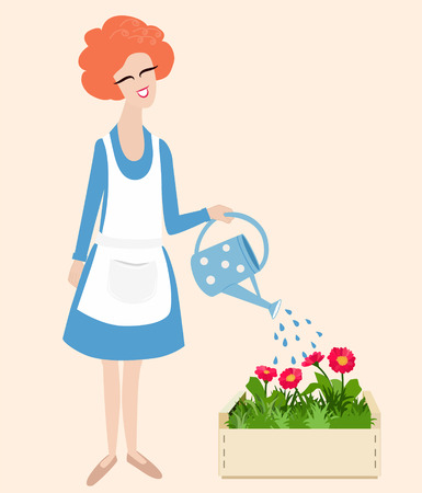 woman gardening: Spring gardening vector illustration with a cute happy smiling red haired woman in an apron standing watering her flowers with a watering can