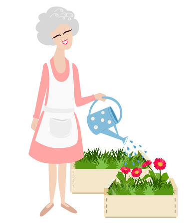 tending: Elderly grandmother watering her flowers in the garden with a blue watering can and a happy smile on her face, cartoon vector illustration