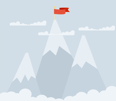 Three mountain peaks on a grey background with a red flag on top of one of them Illustration