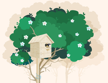 animal mating: A wooden nesting box with a small bird in it tied to a green blossoming tree and tree shadows on the background Illustration