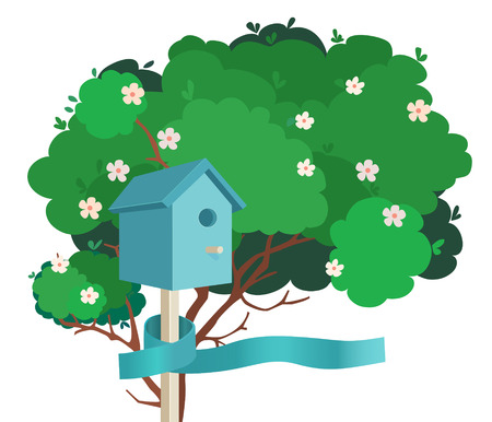 blossoming: A blue nesting box tied to a green blossoming tree with a blue ribbon on a white background
