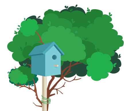 A blue nesting box tied to a green tree Illustration