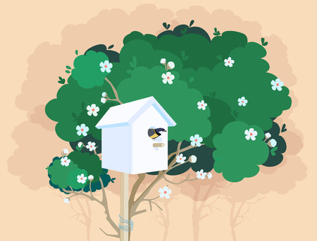 A white nesting box with a small bird in it tied to a green blossoming tree and tree shadows on the background