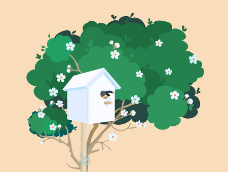 A white nesting box with a small bird in it tied to a green blossoming tree Illustration