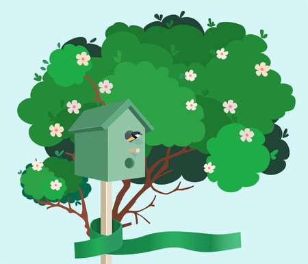 nesting: A green nesting box with a small bird in it tied to a green blossoming tree with a green ribbon