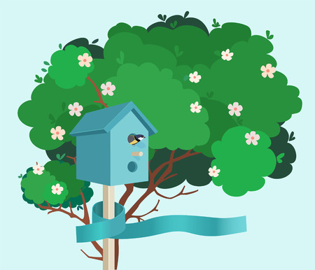 nesting box: A blue nesting box with a small bird in it tied to a green blossoming tree with a blue ribbon on a blue background