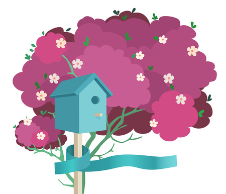 A blue nesting box tied to a pink blossoming tree with a blue ribbon Illustration