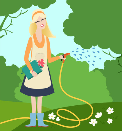 A young woman with blond hair, an apron and a hose watering white flowers in a summer garden