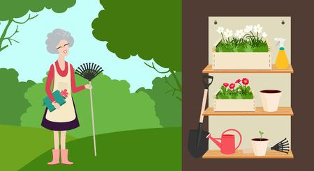An elderly woman with a rake in a summer garden and a set of garden tools on shelves