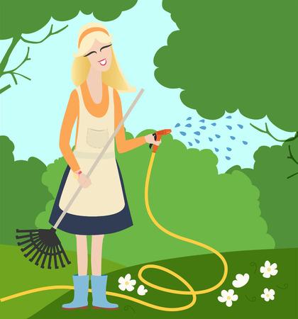 zomertuin: Een jonge vrouw met blond haar, een schort en een slang drenken witte bloemen in een zomertuin