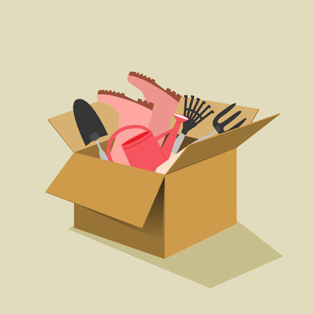 Open brown cardboard box filled with garden tools including gumboots, trowel, fork, watering can and rake conceptual of spring and summer, vector illustration on a neutral beige background