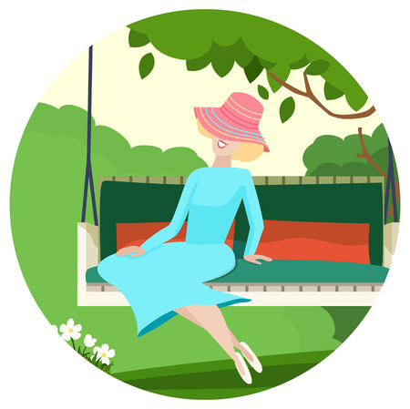 zomertuin: Gelukkig bevallige vrouw zitten in een zomertuin ontspannen op een schommel onder een lommerrijke groene boom genieten van de zon, vector illustratie Stock Illustratie
