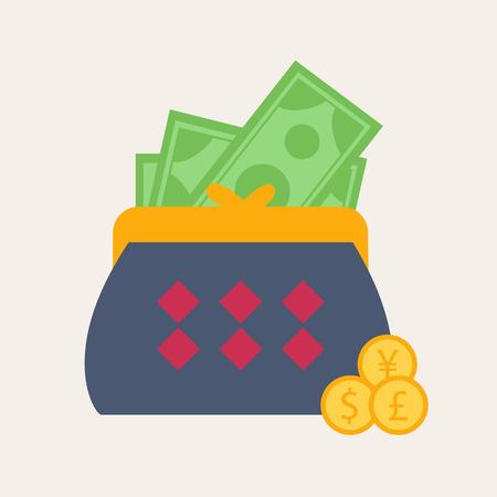 earnings: Bunte blaue Brieftasche oder Geldb�rse mit Banknoten in einem Finanz-, Ertrags-, Ausgaben und W�hrungs Konzept, Vektor-Illustration