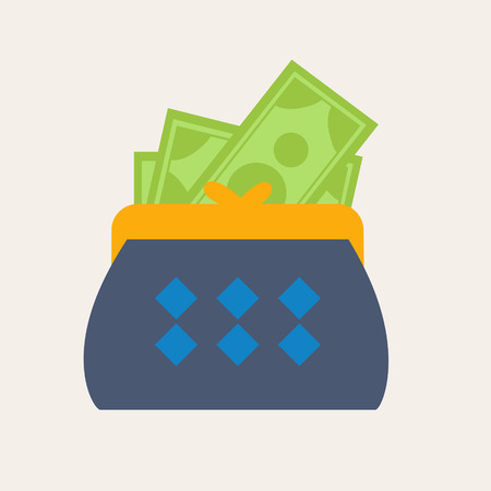 expenditure: Colorful blue wallet or purse with banknotes in a financial, earnings, spending and monetary concept, vector illustration