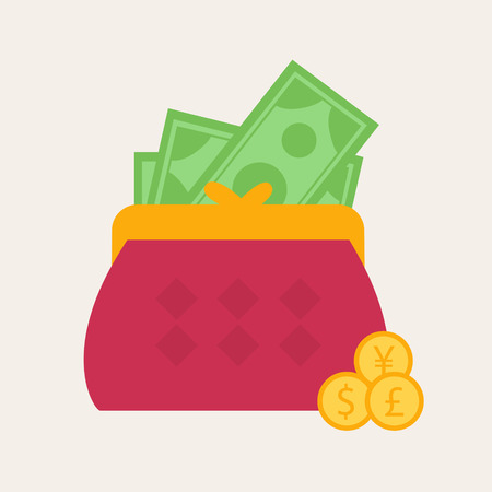 spending: Colorful red wallet or purse with banknotes and gold dollar coins in a financial, earnings, spending and monetary concept, vector illustration Illustration