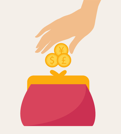 monetary concept: Hand Putting Some Coins on a Colorful red wallet or purse in a financial, earnings, spending and monetary concept, vector illustration Illustration