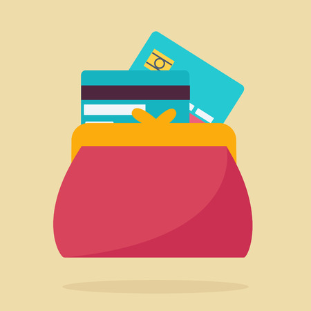 spending: Colorful red wallet or purse with credit cards in a financial, earnings, spending and monetary concept, vector illustration