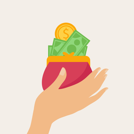 Hand holding a wallet or purse full of money with banknotes and gold dollar coins in a shopping and financial concept, vector illustration