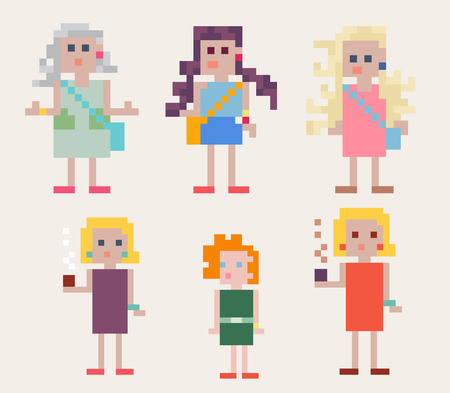 Set of six colorful female pixel people of different ages with a pixelated design of geometric squares, vector illustration
