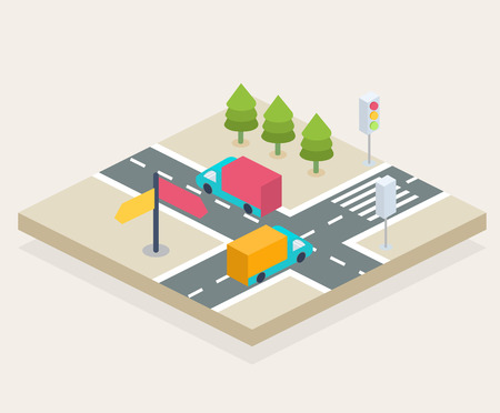 Isometric view of a crossroads, city infographics