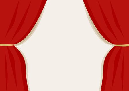 A red velvet curtain opening