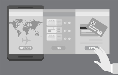Person booking his airline flights online with three panel interfaces showing the route, suggested flight and payment by credit card, vector illustration conceptual of travel
