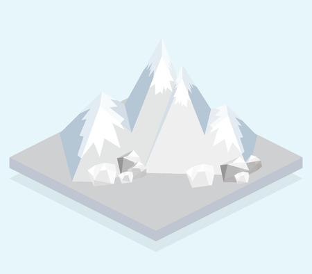 Ski Mountain. Isometric view. Fun cartoon map elements.