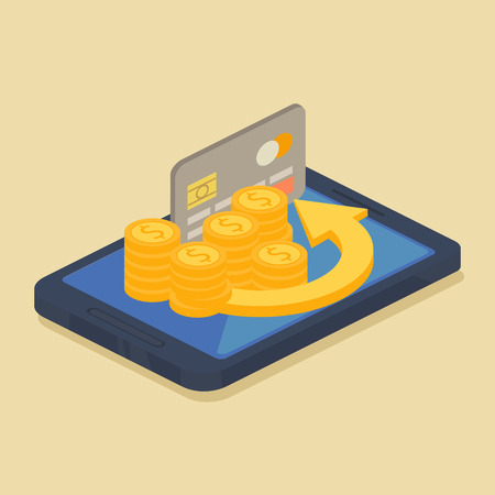 saving accounts: Mobile money or online banking concept with a grey credit card standing on the screen of an electronic device Illustration