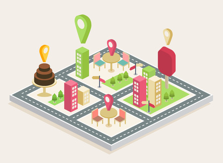 Isometric view, showing a three-dimensional map of a big city Illustration