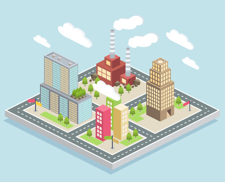 Isometric view of a small city with a factory