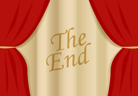 A red velvet curtain closing with words Vector