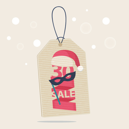 30 percent reduction Christmas sale label with a red and white Xmas hat and a carnival mask with the word SALE