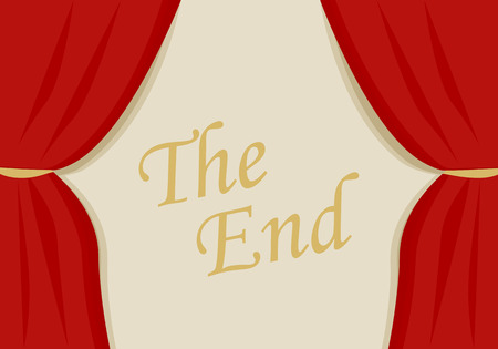 A red velvet curtain closing with words