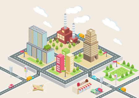 Colorful isometric city, city info graphics Illustration